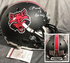 FRED BARNETT signed ARKANSAS STATE RED WOLVES full size helmet JSA coa EAGLES fs