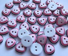 50 x Pink Triangle Pattern - round 2 hole resin 14mm Sewing Crafts etc.,