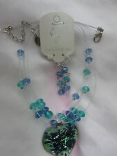 BLUE GLASS NECKLACE SET
