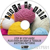 LEARN TO KNIT STEP BY STEP GUIDES PLUS 400+ BABY KNITTING PATTERNS ON CD ROM NEW
