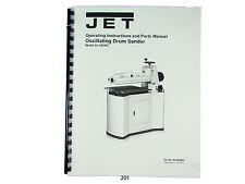 Jet 22 44osc Oscillating Drum Sander Operating Instruct Amp Parts Manual 201