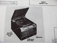 TEMPLE E-511 PHONOGRAPH - RADIO COMBO PHOTOFACT