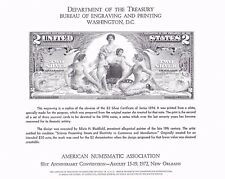 BEP B18 Souvenir Card ANA 72 $2 Silver Certificate (Face) 1896 Mint