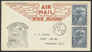 1935 Canada Flight Cover, Val D'Or PQ to Siscoe AAMC #3503e, #208 Cartier Pair
