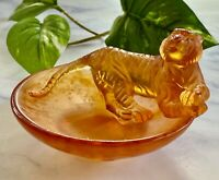 NEW Daum Tiger Horoscope Coupelle Dish Pate de Verre French Crystal Retail $410