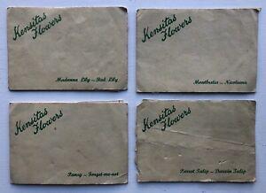 Silk Cigarette Cards - Kensitas Flowers, Postcard Size (J. Wix & Sons) - 4 Cards