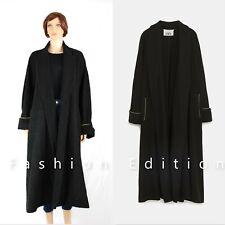 Zara Black Long Wool Coat with Back Strap Detail Size M RRP £99
