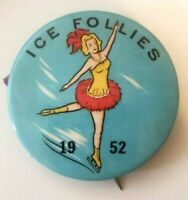"""Ice Follies (1952) 1.75"""" Vintage Ice Skating Pin-Back Button"""