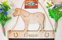 Highland Pony Horse Rosette Hanger Oak Veneer Fabric Mesh Ride Holder