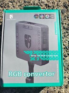 RGB Convertor 5V to 12V RGB Transfer Hub SATA Interface Magnet Installation G2Y0