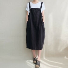 ZANZEA 8-24 Women Plus Size Bib Midi Sundress Cotton Dungarees Overalls Dress