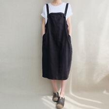 ZANZEA 8-24 Women Plus Size Bib Midi Sundress Cotton Dungarees Overalls Dress