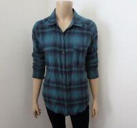 Hollister Womens Plaid Flannel Shirt Size Small Green & Navy