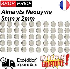 Lot 50 Aimants Frigo Neodyme Neodium Rond Fort Strong Magnet 5 mm x 2 mm (NEUF)