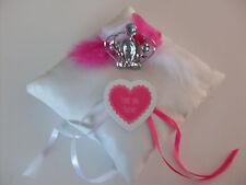 Coussin mariage pour alliances neuf princesse romantique fushia et blanc