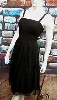COAST BLACK PLEATED STRAPPY CHIFFON & LACE OCCASION DRESS  SIZE 12