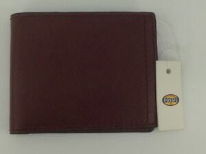 Men's FOSSIL Brand Brick Red LEATHER BiFold Wallet - $55 MSRP