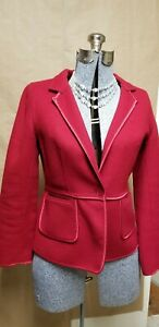 80s Talbots cream blazer Ivory scoop neck  wool blazer country club  pearl button jacket fitted lightweight cram blazer casual preppy
