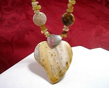 JAY KING DTR 925 STERLING SILVER HEART LACEY JASPER & AMBER STRAND NECKLACE 18""