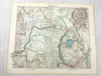 1907 Antik Map Of Deutsche East Afrika Kolonie Kongo Tanganjika Mongalla Sudan