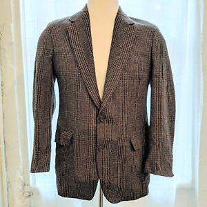 VTG Men's Classic Style NORDSTROM Wool Silk Brown Plaid Coat Blazer Jacket M 40R