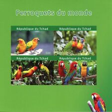 More details for chad birds on stamps 2021 mnh parrots of world macaws conures 4v impf m/s i