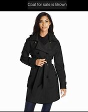 Women's ELLEN TRACY Brown Double Breasted Lined Belted Trench Coat S