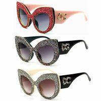 Large Glitter Sunglasses Oversized Cat Eye Frame Rhinestone Bling Shades Eyewear