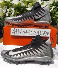 NIKE ALPHA MENACE PRO MID FOOTBALL CLEATS SIZE 10.5 BLACK SILVER 871451-001