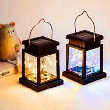 Candle Lantern Light Garden Landscape Hanging Lamp Solar LED Outdoor C3F4