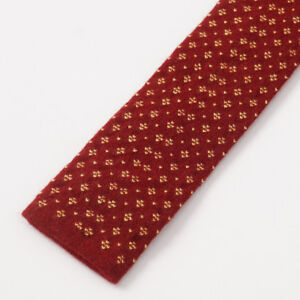NWT $295 KITON NAPOLI Red and Gold Knit Jacquard Pattern Cashmere Tie