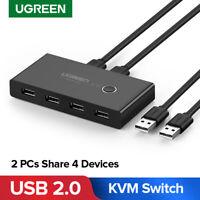 Ugreen USB 2.0 KVM Switcher 4 Ports HUB mit 2 USB Kabel für Scanner Drucker