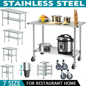 Stainless Commercial Kitchen Prep Work Table Adjustable Shelf Heavy Duty Casters