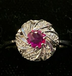 Antique 18K Natural Ruby & Diamond Ring 3.9g Size 7.5