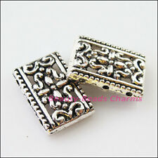 15Pc Tibetan Silver 2-2 Holes Flower Spacer Bar Beads Charms Connector 12x17.5mm