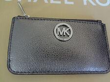 NWT MICHAEL KORS Fulton Key Pouch Ring Leather Wallet Gun Metal F3