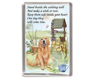 "Golden Retriever Dog Large Fridge Magnet (60 x 90mm) ""WISHING WELL POEM"""