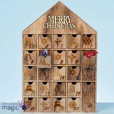 40cm bois en noël joyeux maison Minuteur Calendrier de l'avent décoration