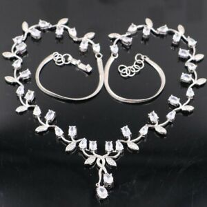 Deluxe White Sapphire Woman's Engagement Silver Necklace 18.0-19.0in
