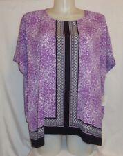 TOP 1X (14-16) Purple/Black Geo Print Kimono Caftan Boho Blouse Hippie Retro 70s