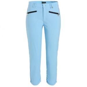 NWT Golfino Ladies Techno Stretch Ruffled Capri 8264022 533 Blue Sz 4 12 NEW