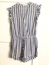 Bella Dahl  Ruffle Sleeve Romper Blue White Striped Drawstring Maybe M $145