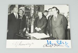RICHARD NIXON, KURT GEORG KIESINGER, KLAUS SCHÜTZ - orig. Autogramm 1969, signed