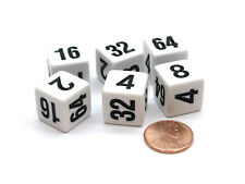 Pack of 6 Opaque 16mm Doubling Dice Cube (2, 4, 8, 16, 32, 64) - White