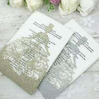 50PCS Glitter Hollow Laser Cut Crown Wedding  Bridal Engagement Invitations Card