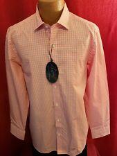 NWT GREG NORMAN Orange Gingham Check LS 100% Cotton Button Front Shirt Size L