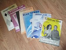 Sheet Music-5-Buttons & Bows, Johnny Zero, Blue Tango, Sometime, Weddin' Day ##
