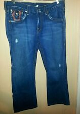 True Religion Billy Super T Twisted Leg Boot Cut Red Printed Logo Jeans Size 36