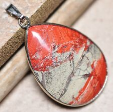 "Bloodstone Jasper Sea Sediment Quartz Natural Gemstone 1.75"" Silver Pendant #43"