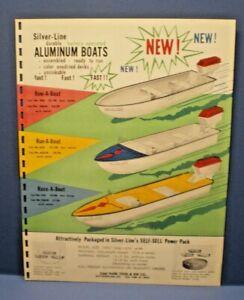 Silver - Line Aluminum Boats 1959 /60 single sided dealer sales flyer L@@K!